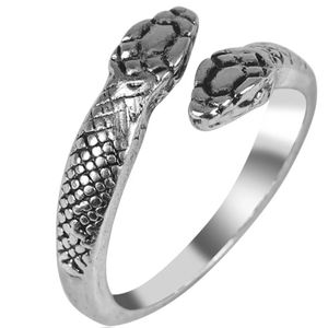 Silver Double Head Snake Serpent Adjustable Ring
